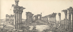 f.15   'Ruins of the temple of the Sun. Palmyra.  Drawn from the Engraving in the  Encyclopaedia Britannica.'